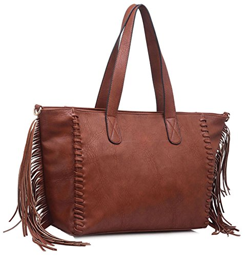 Big Handbag Shop Damen Quaste weichem Kunstleder Top Griff Schultertasche Black (KL505)