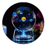 3D Sonnensystem Glaskugel mit Lichtbasis, klar 80mm (3 in.) Sonnensystem Ball, Geburtstagsgeschenk für Astronomen, Liebhaber des Universums, Freund, Mitschüler und Kinder (Ball)