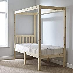 Strictly Beds and Bunks Limited Single 3ft Four Poster Bed frame - solid natural pine 4 poster bed frame - Heavy duty use