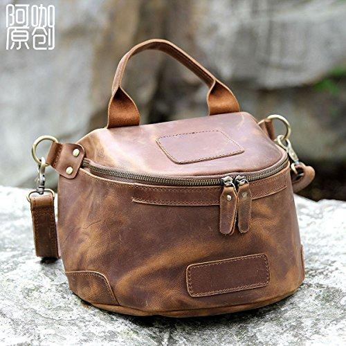 Moto cuir vintage original en cuir sac sac photo pour les hommes et les femmes Dark Brown