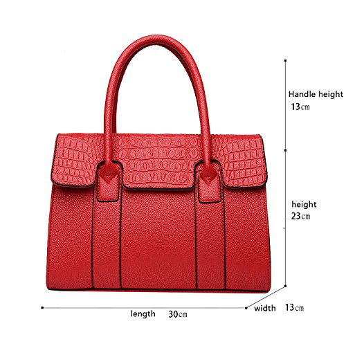 Sunas Retro modello di coccodrè della borsa delle signore di modo due insiemi del sacchetto del messaggero della spalla del sacchetto delle donne e del raccoglitore rosso