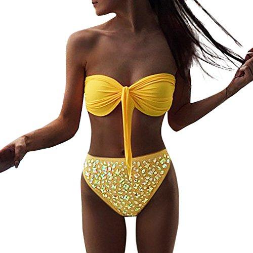 Damen Bikini Set Heißes Bohren Schlauchoberteil Kontrast Split-Badeanzug Pailletten Strandbadebekleidung Push-Up-BH-Bad GreatestPAK,Gelb,L