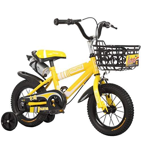 """Kinderfahrrad Kinderfahrrad, Kinder Fahrrad-Mädchen/Jungen Kleinkind Trainning For 3-10 Jahre In Größe 12\"""" 14\"""" 16\"""" 18\"""" Mit Ständer Und Flaschenhalter (Color : Yellow, Size : 16\'\')"""