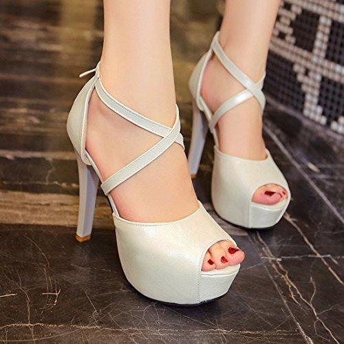 YE Damen Peep Toe High Heels Stilettos Plateau Pumps mit Riemchen Sommer Sandalen Party Elegant Schuhe Beige
