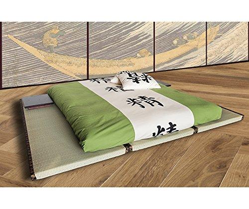 Vivere zen - kit letto 3 tatami decorati bordo marrone + futon (da 11 a 15 cm) 3 tatami 90x200 (=200x270) + futon cotone lattice 160x200x15