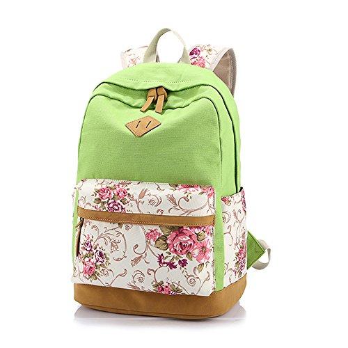 Yimidear zaino donna in tela per scuola casuale con decorazione fiore laptop entro 14 Verde