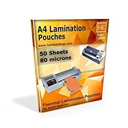 A4 Lamination Sheets Pouch 80 micron, 225x310mm, for Hot Laminator, 50 sheets
