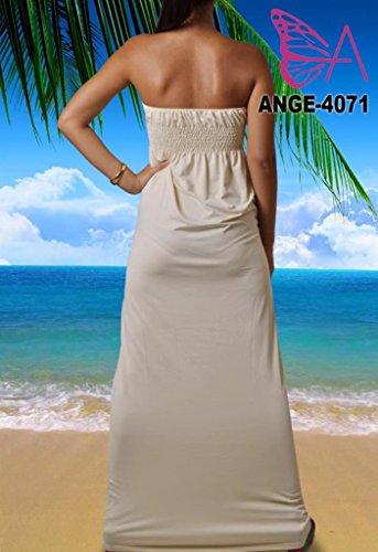 Angela, Femmes Vibrant Clair Bandeau Sans Bretelles Nœud Maxi Vacances Été Couleur Unie Robe Crème
