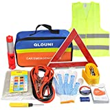 Qlouni 12-in-1 Car Emergency Tool Set Emergency Tool Set Car Safety Kit with Storage Bag Puncture Tool Set such as Jump Leads, Tow Rope, Warning Triangle, Flashlight, Safety Hammer etc.
