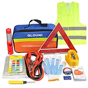 QLOUNI 12-In-1 Car Emergency Tool Kit Auto Safety Kit for European Travel, Breakdown Kit Roadside Assistance with Warning Triangle, High Visibility Vest, Tow Rope, Car Safety Hammer, Storage Bag