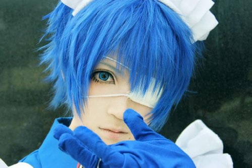 COSPLAZA Cosplay Kostueme Peruecke kurz Blau Halloween Party Haar mit Perueckennetz Vocaloid ()