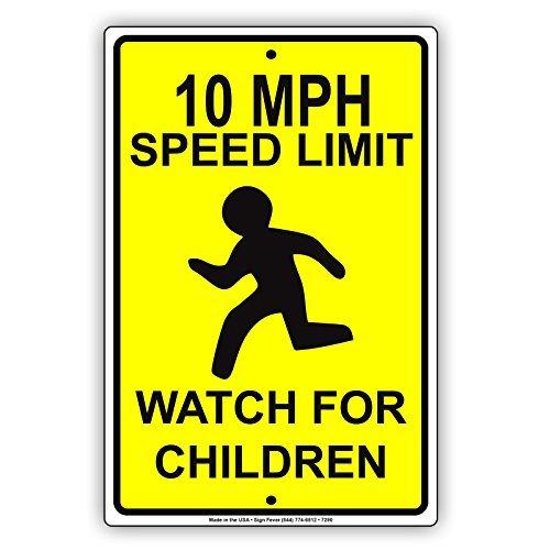 wenyige8216 10 MPH Speed Limit Watch for Children Caution Warning Notice Aluminium Metal 8