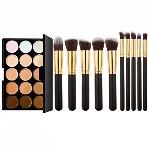 Vococal® Palette de Maquillage de Couleur 15 Correcteur Camouflage et Kit de Pinceau de Maquillage de 10Pcs pour Cosmétique or + noir
