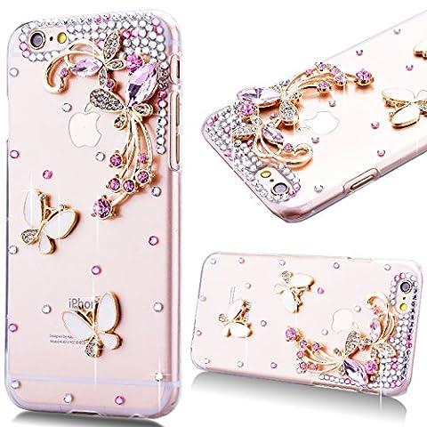 Coque iPhone 6S, Etui iPhone 6, GrandEver Coque Hard PC Transparente 3D Diamant Cristal Rose Rhinestones Bling Back Cover Papillon Motif Etui Brillant Housse Plastique Haute qualité Cas Couverture Protection Couvrir pour Apple iPhone 6S/iPhone 6 (4.7