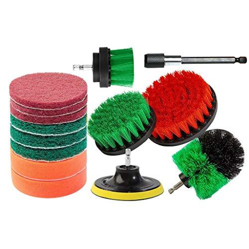 Happy event - Set di 14 pennelli per trapano da 2'4'/5'/25 cm di diametro, spazzole multiuso, spazzole per pulizia piscina, auto, tappeti, bagno, cucina, Rosso