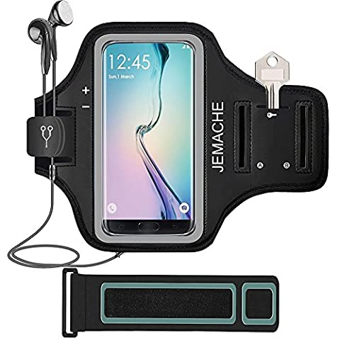Galaxy S8 Armband, JEMACHE Gym Run Workout Arm Band for Samsung Galaxy S8/S7 Edge with Key/Card Holder 5.5