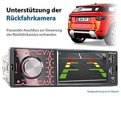 XOMAX-XM-V419-Autoradio-mit-41-10-cm-Bildschirm-I-Bluetooth-Freisprecheinrichtung-I-USB-SD-AUX-I-Anschlsse-fr-Rckfahrkamera-und-Lenkradfernbedienung-I-7-Beleuchtungsfarben-I-1-DIN