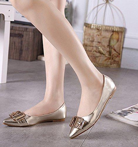 Minetom Donna Ragazze Estate Autunno Ballet Shoes Moda Barca Scarpe Grosso Scarpe Metallico Lucentezza Ballerine Oro