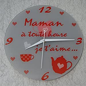 hema horloge je t 39 aime maman cadeau pour la f te des m res no l anniversaire naissance. Black Bedroom Furniture Sets. Home Design Ideas