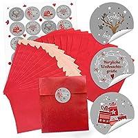 10 bolsas de papel pequeñas rojos weihnac htstüten bolsas de regalo (13 x 18 cm) + 24 de pegatinas en gris rojo y blanco feliz navidad (14127) regalo de ...