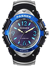 Hiwatch Relojes para Niños Reloj de Pulsera de Cuarzo Impermeable Reloj Analógico Deportivo con Multíples Luces Coloridas para Jóvenes Estudiantes de Secundaria, Azul