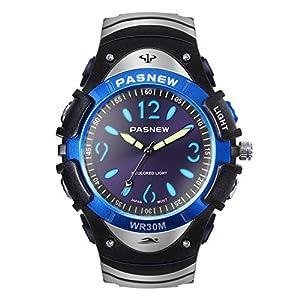 Hiwatch Jungen Uhr Klassisch Quarz Wasserdichte Sportuhr Analoge Uhr mit Farbigem Licht für Junge Hochschule Studenten Schwarz/Blau/Grau