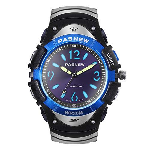 Hiwatch Jungen Uhr Klassisch Quarz Wasserdichte Sportuhr Analoge Uhr mit Farbigem Licht für Junge Hochschule Studenten Schwarz/Blau/ Grau (blau)