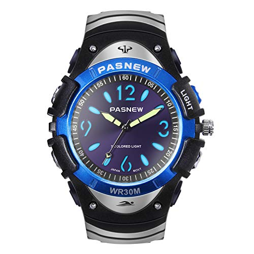 Hiwatch Jungen Sportuhr Analog Quarz Armbanduhr mit PU Armband- Blau