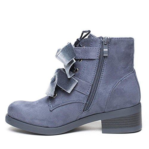 Ideal Shoes Bottines à Lacets Effet Daim Ornées de Clous Joania Bleu