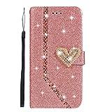 DENDICO Funda Huawei P8 Lite 2017, Glitter Funda de Billetera Carcasa con Tarjeta de crédito para Huawei P8 Lite 2017 Plegable Flip Case Protección De Cuerpo Completo - Oro Rosa
