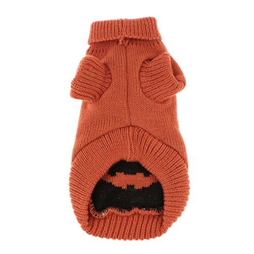 MagiDeal 1 Stk. Haustier Pullover Elegant Kürbis Muster Strickpulli Winterkleidung Halloween Kostüm für Haushunde - Orange - XS