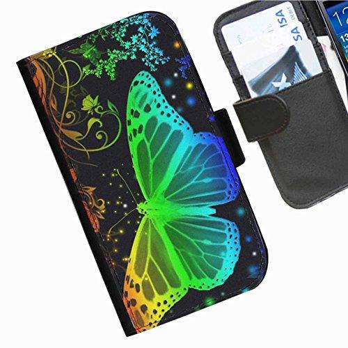 Hairyworm- Schmetterlinge Samsung Galaxy S7710 Xcover 2 (GT-S7710L) Leder Klapphülle Etui Handy Tasche, Deckel mit Kartenfächern, Geldscheinfach und Magnetverschluss.