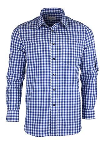 Trachtenhemd kariert in 6 Farben Gr. XS-XXXL mit Krempelärmeln Deutscher Hersteller (XL, blau)