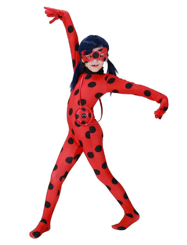 Gre-M-4-6-Jahre-Kostm-Verkleidung-Karneval-Halloween-Marienkfer-Rot-Kind-Ladybug-Ladybug-Miraculous