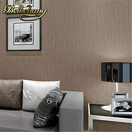 Brown Faux Textur Wallpaper (KYKDY Faux Grasscloth Moderne Einfache Textur Wandpapier Schlafzimmer und Büro Tapete Rollen Einfarbig Beige, Braun, 5,3㎡)