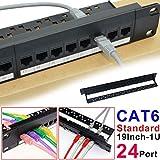 7E TRADING 24 Port 1U Pannello Patch Cat5 Montabile in Rack PRO Rj45 110 Network Mini Patch Panel Stampaggio Integrato, Senza Ruggine, Resistente (Cate6 Rj45 Dritto)
