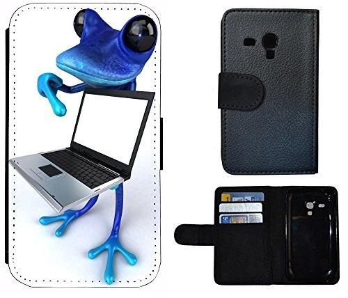 Flip Cover Schutz Hülle Handy Tasche Etui Case für (Apple iPhone 5 / 5s, 1011 Tige Schwarz Weiß Feuer) 1014 Frosch mit Laptop Blau