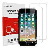 Lanhiem Verre Trempé Compatible avec iPhone 7 / iPhone 8, Film Protection écran Dureté 9H Ultra Résistant, [Installation Facile, sans Bulles] Compatible avec Les Coques, Transparent
