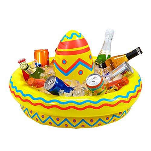 Flaschenkühler Beach Party - 50 cm - Tequila Mexikaner Hut aufblasbar Mexiko Partydeko Mottoparty Mexico Sommerparty Deko Aufblasbarer Sombrero mit Getränkekühler