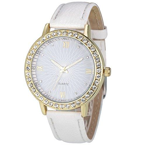 winwintom Diamant Analog Leder Quarz Armbanduhr Weiß Herren Bulova Gold Diamant Uhr