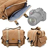 DURAGADGET Tan Brown Canvas Carry Bag Compatible With the Nikon D5600 DSLR Camera - With Multiple Adjustable Storage Compartments, Multiple Pockets and Shoulder Strap - By
