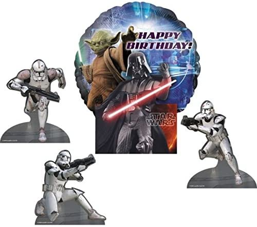 Star Star Star Wars Happy Birthday Air-Filled Decorative Balloon Centerpiece with Character Cut-Outs   La Mode  13ae53