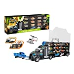 Yavso Dinosaur Transport Carrier Truck Toy, Dinosaurs Car Dinosaur Truck Carry Case with 24 Dinosaur figures Storage Set for Kids Chrismas Advent Calendars Birthday