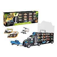 Yavso Dinosaur Transport Carrier Truck Toy, Dinosaurs Car Dinosaur Truck Carry Case with 24 Dinosaur figures Storage Set for Kids Chrismas Advent Calendars Birthday