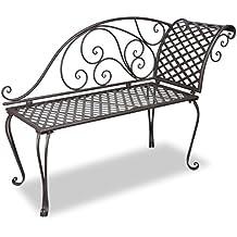 Diván antiguo de metal del jardín Marrón Respaldo de Dibujos-Rosa