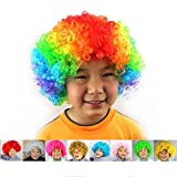 VWH Unisexe Adulte Enfant Perruque Clown Bouclée Pour Enfant Garçons Filles Fantaisie Fête Party Cosplay Halloween Curly Clown Wig (Multicolore)