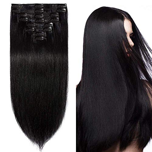 Clip in Extensions Echthaar günstig Haarverlängerung Remy Echthaar 8 Tressen 18 Clips Glatt 60cm-120g(#1 Schwarz)