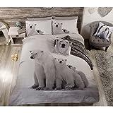 Polar Bear cute Animals Trapunta Matrimoniale Copripiumino Matrimoniale e federa set di biancheria da letto, bianco, King, King