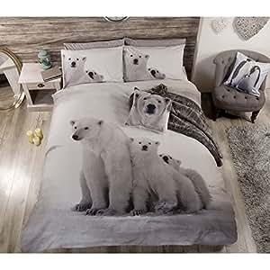 Ours polaire animaux mignons Parure de lit avec housse de couette et taie d'oreiller Parure de lit, Blanc, King-size, King