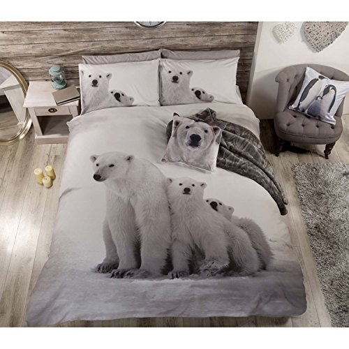 POLAR BEAR ® Cute Animales Colcha Juego de Funda de Edredón y...